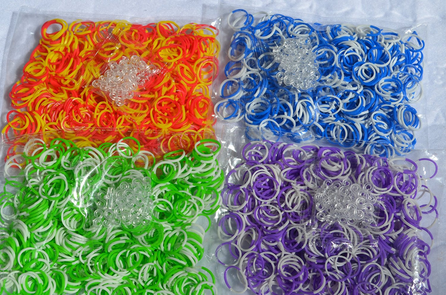 2400 pc Rainbow Tie Dye Rubber Bands - Loom Band Refill Set - 4 Colors with 100 Clips - Make Rubber Band Bracelets - Fully Compatible with All Rubber Band Looms - 600 Each of 4 Different Colors - Red+Yellow, White+Blue, White+Green, White+Purple - 100% Quality Guarantee