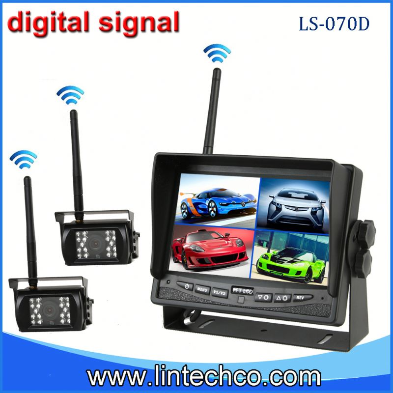 Easy install digital signal 7'' wireless wireless Crane dual camera reversing system