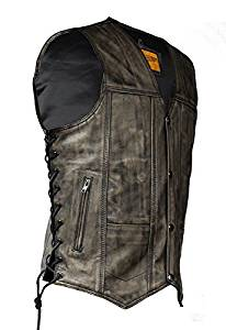 Distressed Brown Leather Vest With Gun Pockets (Size 2XL, 54)