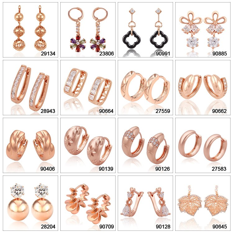 96437 XUPING Rose gold jewelry cheap wholesale fashion hoop earring design for women