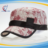 OEM Custom Handsome Printed Mens Military Caps with Leather Band Decor