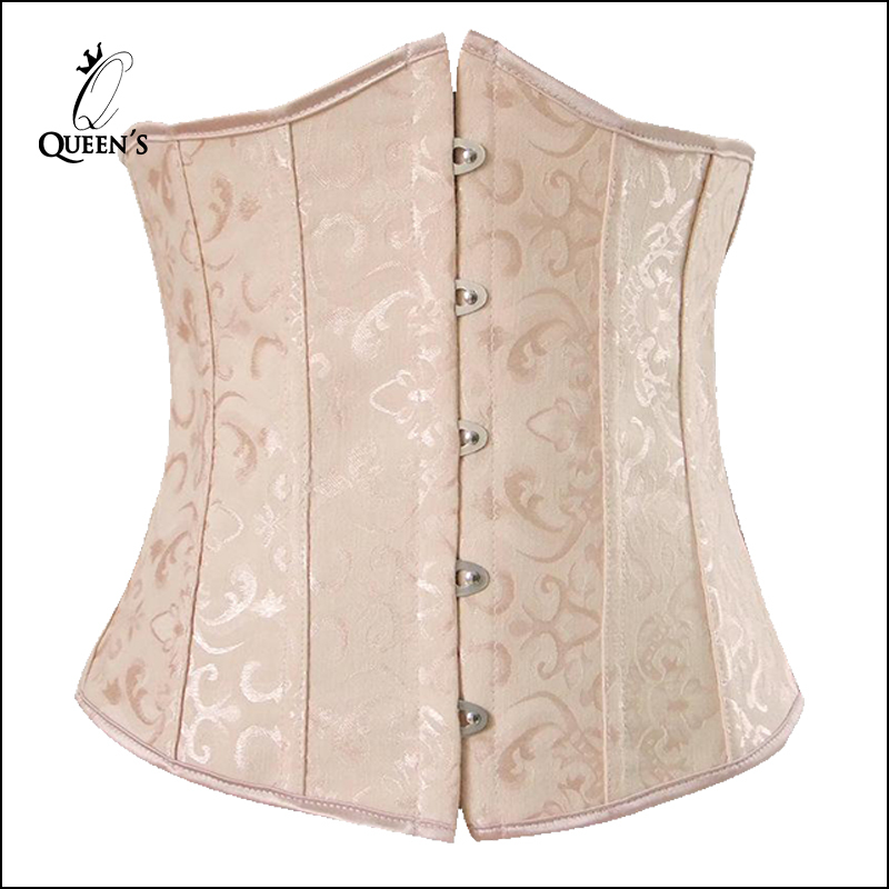 Hot Sale Plus Size Sexy Corset Embroidery Underbust Waist Training Shaper Corsets and Bustiers Women Body Corselet Beige