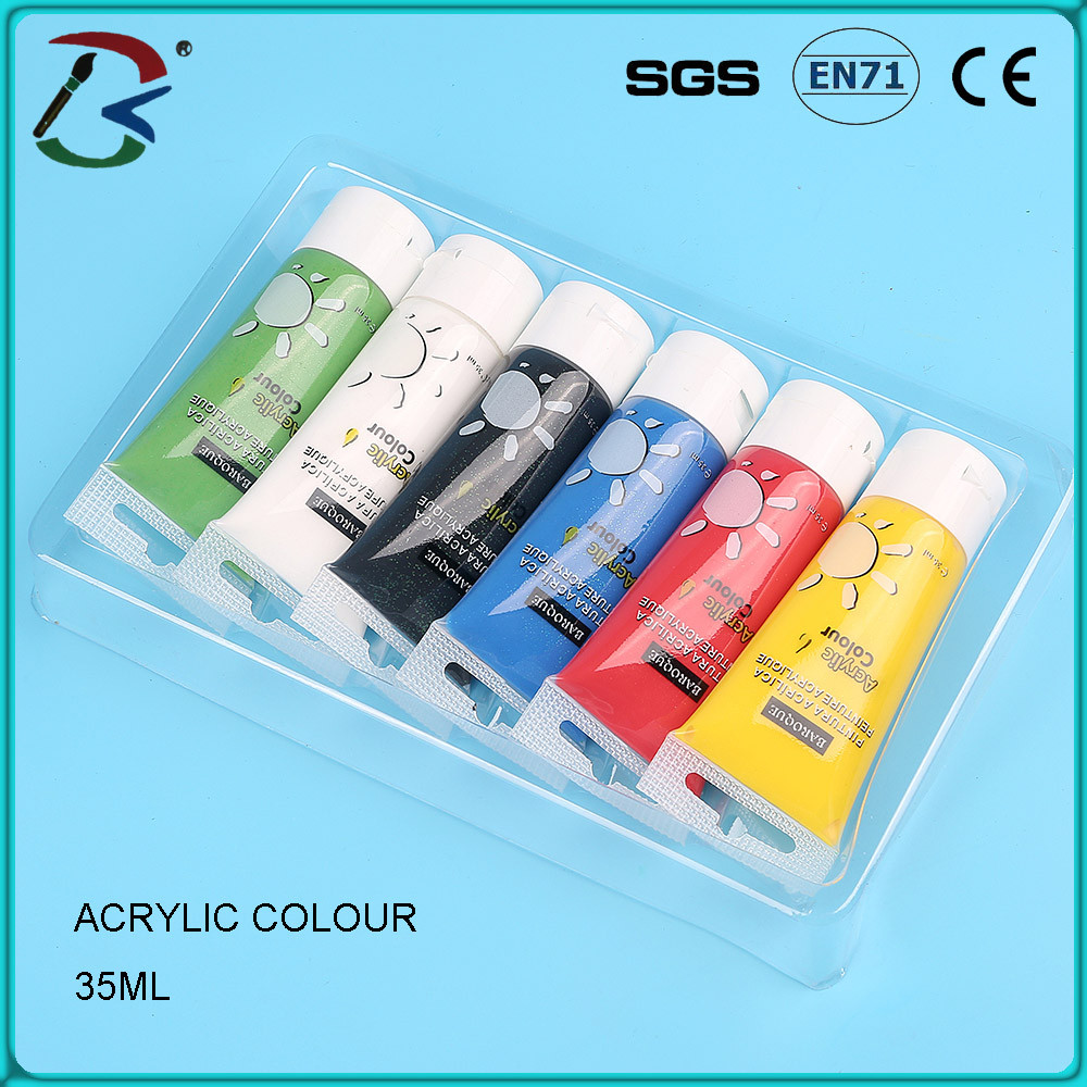 6 colors professional acrilic paint for nail, acrylic paint tube set for nail art paint