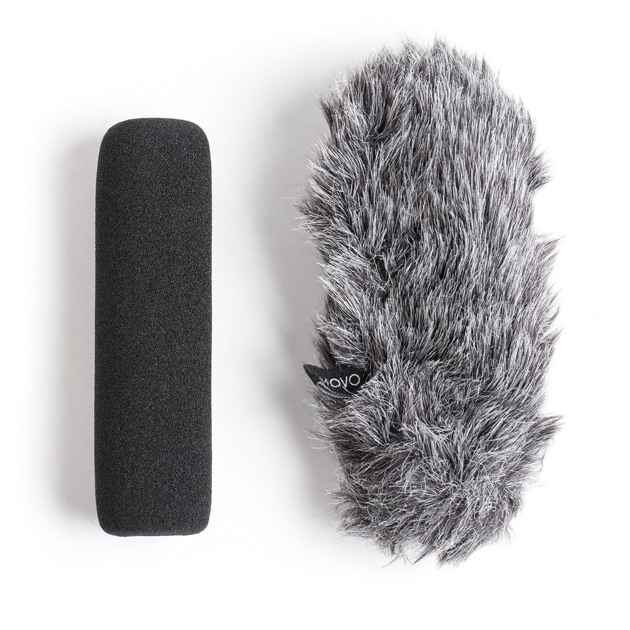 Movo WS-G7 Foam & Furry Indoor/Outdoor Microphone Windscreen Combo Pack - Custom Fit for Rode VideoMic Go