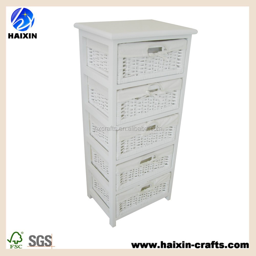 Haixin Home Wooden Storage Tower With 5 Wicker Baskets Boxes   White U0026  Natural   Buy Wooden Storage Cabinet,Hallway Wooden Cabinet,White Wicker  Drawer ...