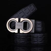 Men's casual crocodile lines smooth leather belt buckle belts MT104860