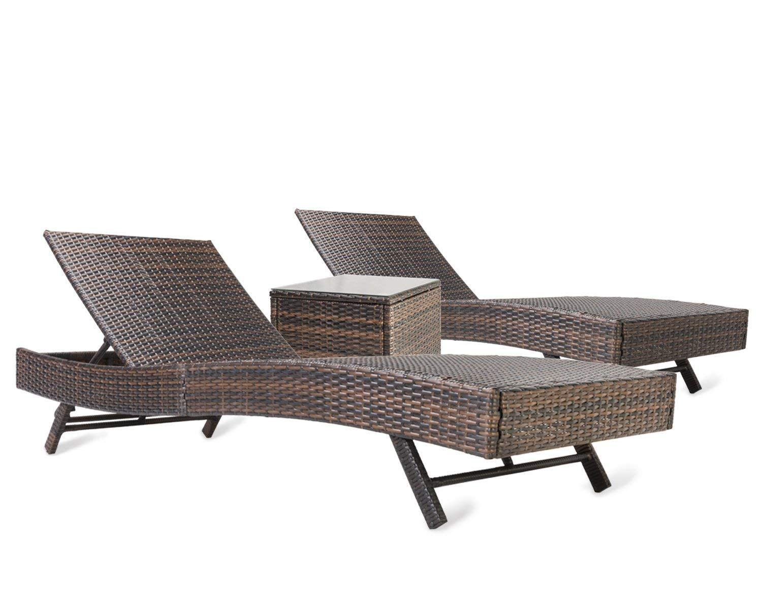Pamapic 3PCS Outdoor Chaise Lounge Chair Set 【with Cushion Set of 2】, Adjustable Backrest PE Wicker Patio Furniture with Coffee Table (Brown)