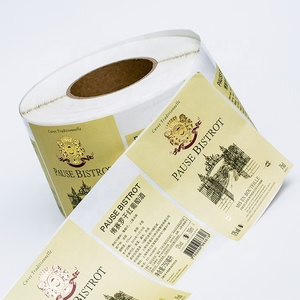 rectangle gold color glossy laminated paper sticker hot foil stamping labels