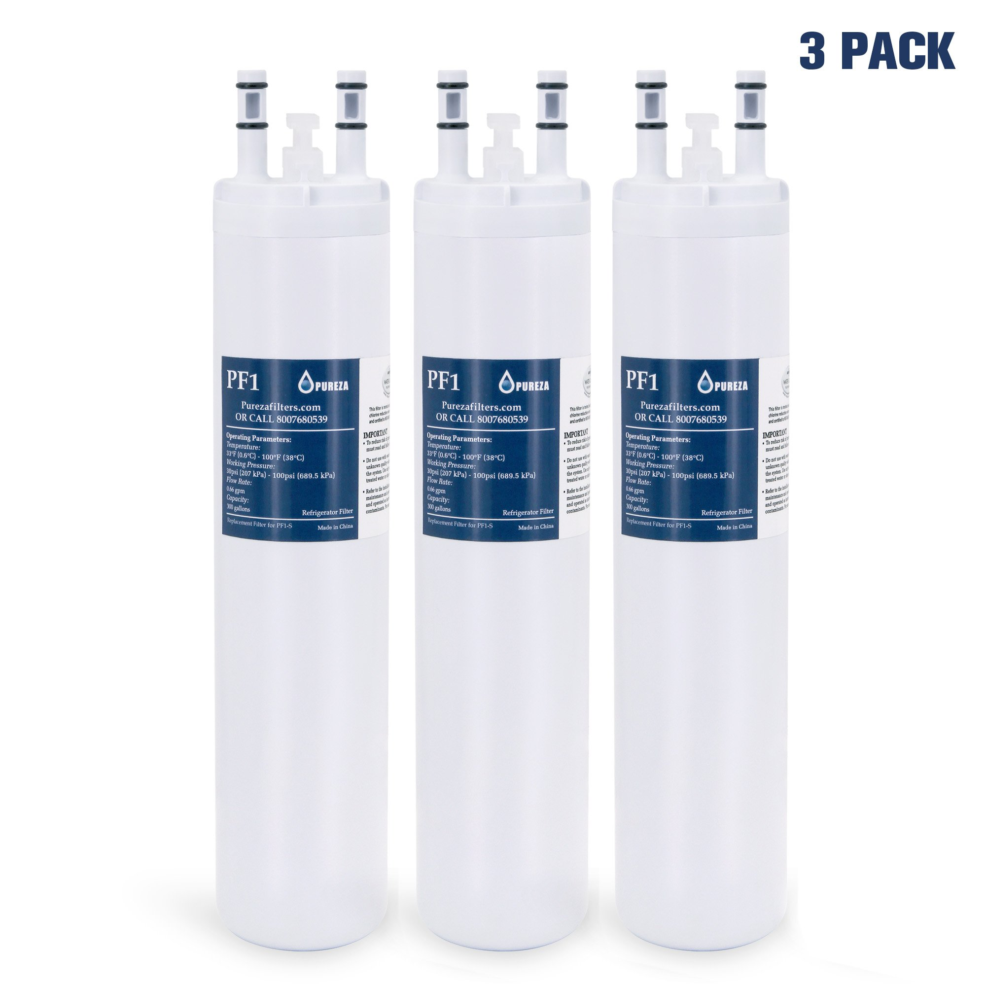 Pureza ULTRAWF Frigidaire Water Filter, PureSource Ultra, Frigidaire Compatible Cartridge For Frigidaire Refrigerators & Ice Makers-Compatible with Crystal ULTRAWF, Kenmore 46-9999, 3 Packs