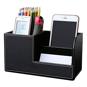 PU Leather Desk Organizer Pen Pencil Holder Business Name Cards Remote Control Holder
