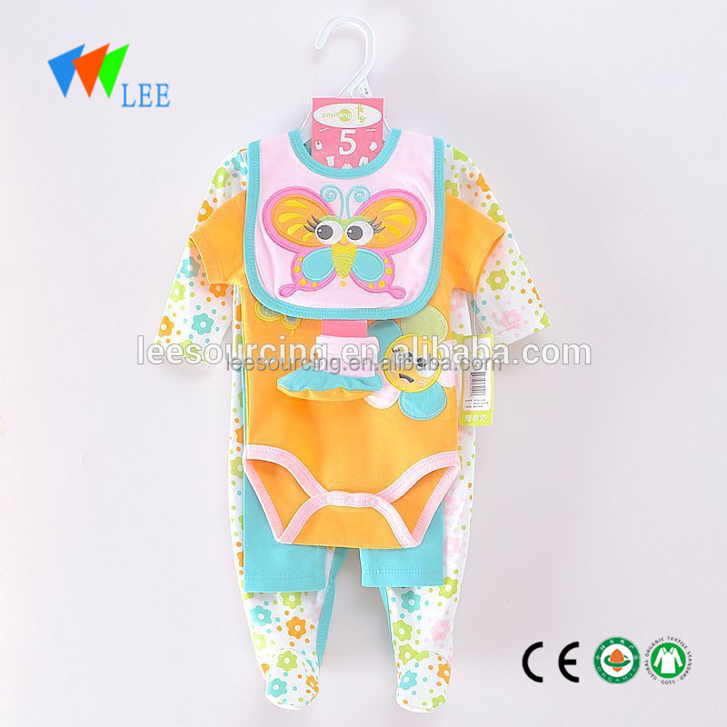 Wholesale Baby Wears 100%cotton Footed One- Piece bodysuit 5 piece set baby romper set Baby Layette