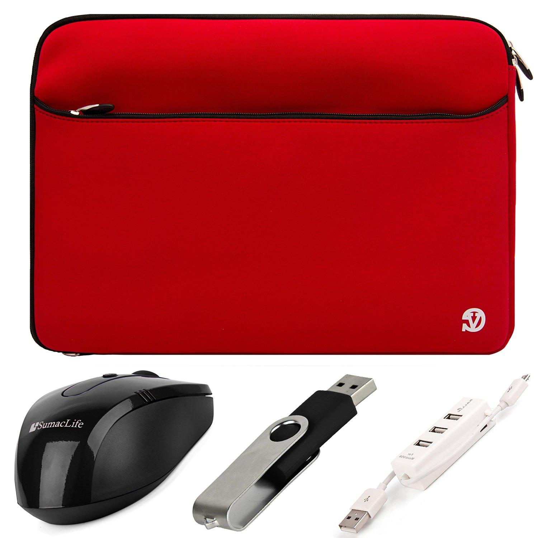 VanGoddy Neoprene Sleeve Cover for Apple MacBook Pro 15.4-inch Laptops + Black SumacLife USB Mouse + Black 4GB Thumbdrive + 3 Port USB Hub (Red)