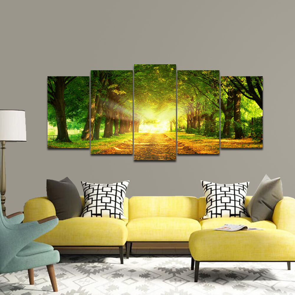 Wieco Art Large Size 5 Panels Beautiful Road in the Forest Canvas Printing Wall Art Modern Home Decoration No Framed
