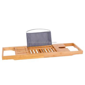 Bamboo Bathtub Caddy Tray Bath Tray Organizer Bath Rack With Reading ...