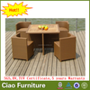 outdoor dining furniture rattan cube dining table set teak wood top