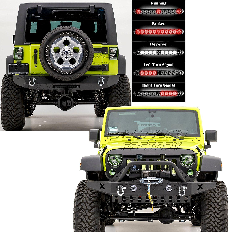 9dbb8f0687 Get Quotations · Restyling Factory 07-16 Jeep Wrangler JK Front Bumper w/OE Fog  Light Hole