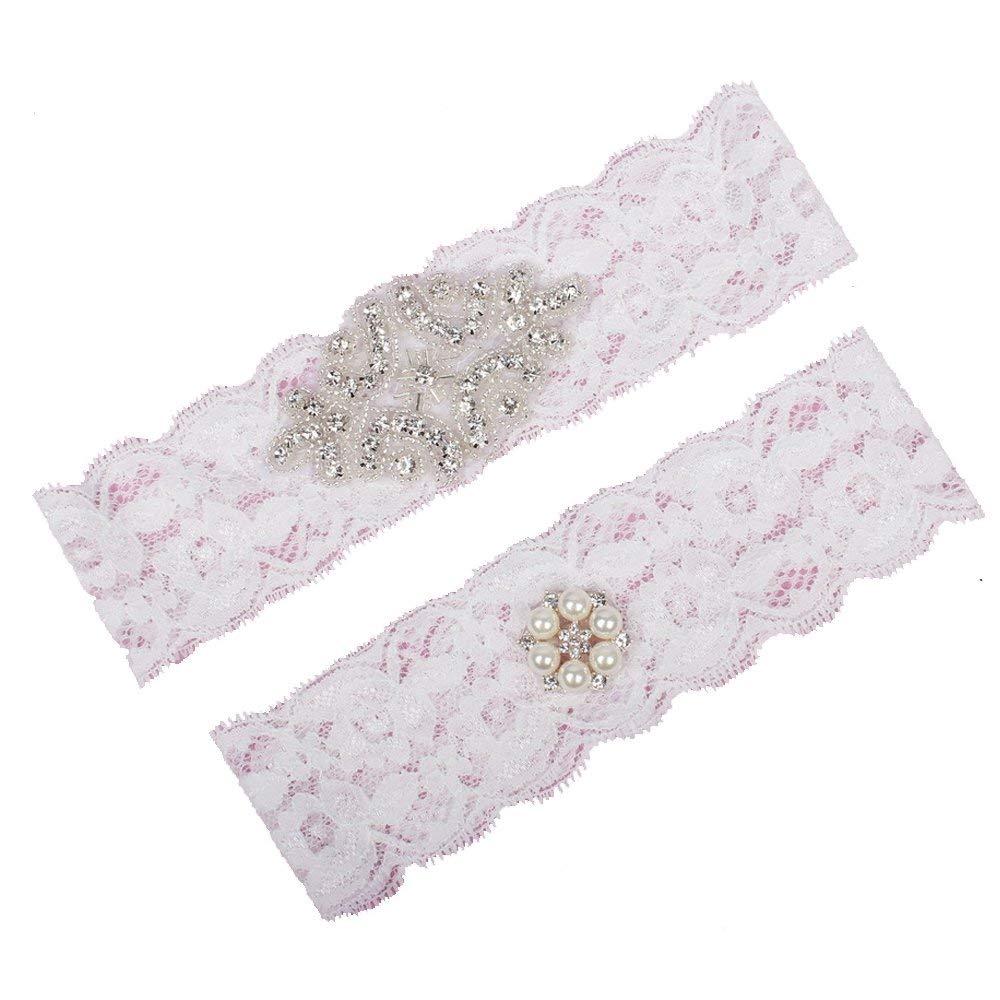 0fe2f9567fe HONGANY Lace Bridal Garter Belts Handmade Wedding Garter Set with  Rhinestones for Women