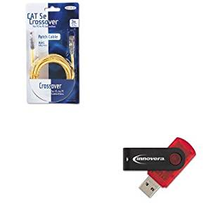 KITBLKA3X12607YLWMIVR37600 - Value Kit - Belkin CAT5e Crossover Patch Cable (BLKA3X12607YLWM) and Innovera USB 2.0 Flash Drive (IVR37600)