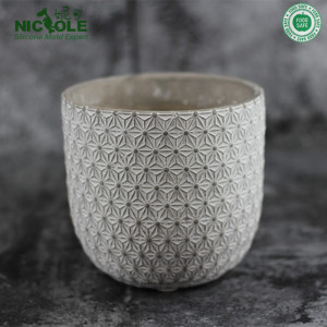 Nicole silicone concrete planter flower pot with decorative pattern moulds