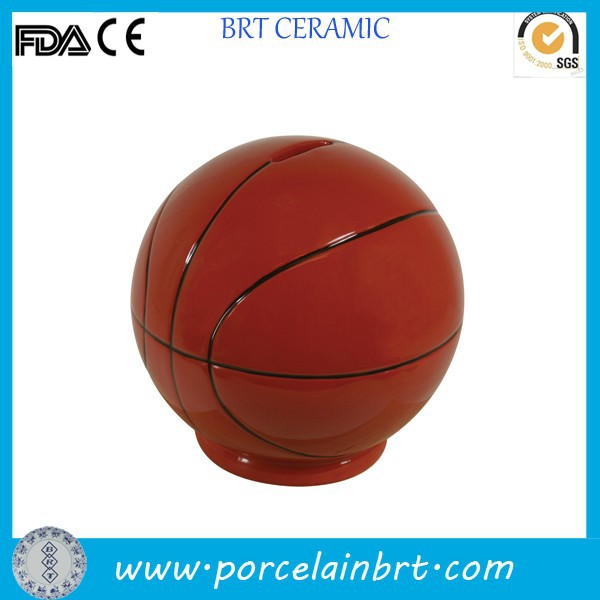 Basketball shaped sports fans collection ceramic Money Saving Box