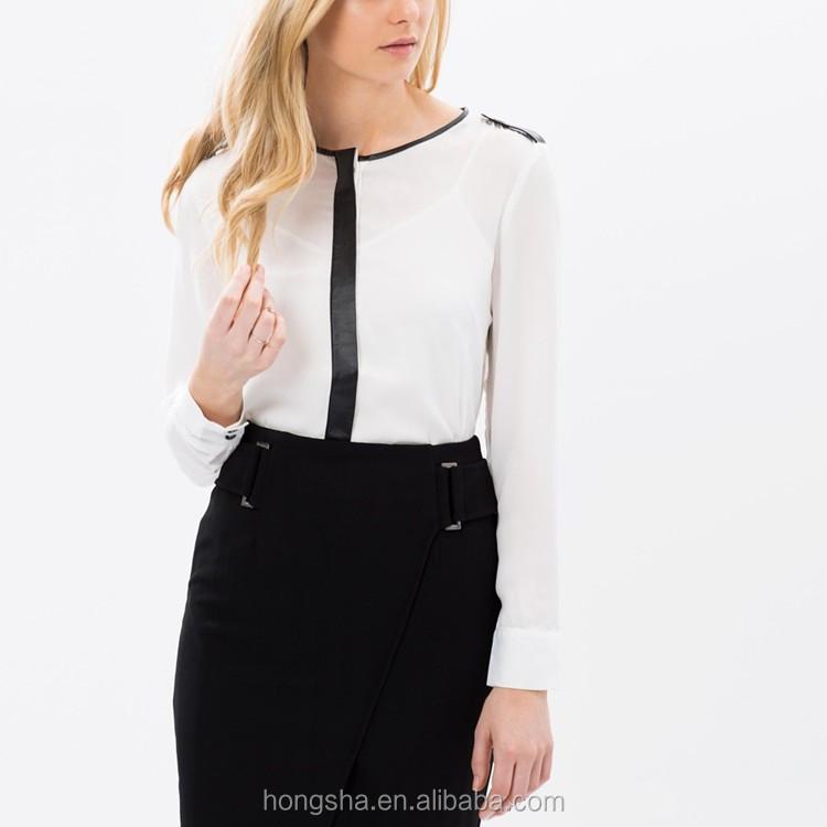 88f160a51cd1cf Latest design ladies office blouse wear long sleeve white ladies office  wear HSB6369