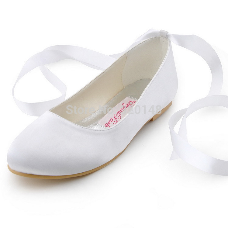 Fashion Shoes  EP11105  Ivory Round Toe Ribbon Lace Up Satin Flats Women Casual Shoes Wedding Bridal Flat Shoes