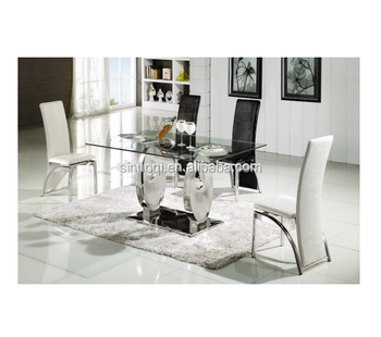 Modern Crystal Design Gl Dining Table Set 6 Chairs Top Stainless Steel Leg