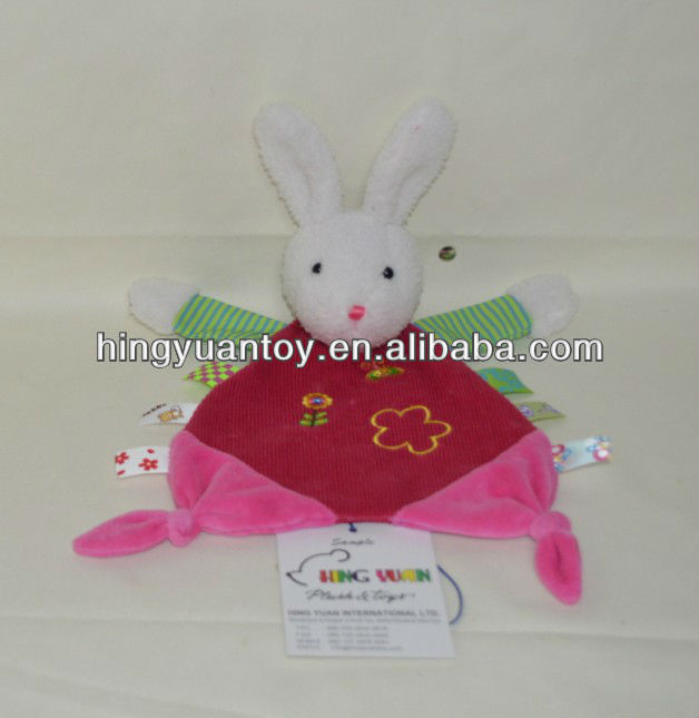 cotton fabrics components rabbit blankets with animal heads and embroidery patterns