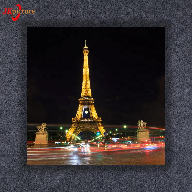 Scenery Painting Eiffel Tower City Night Led Lighting Canvas Picture Decoration Prints Art