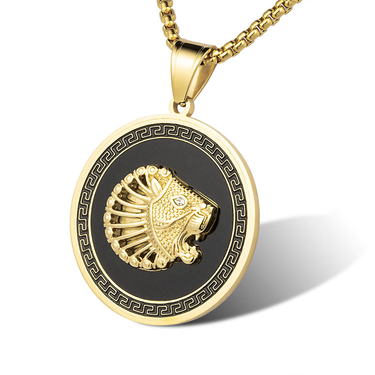 Marlary Cool Large 14K Gold Plated Stainless Steel Charm Jewelry Black Enamel Lion <strong>Pendant</strong> For Men