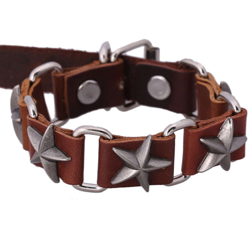 sh09-5 Hot Sale!!! Punk Star Bracelets Fashion Leather Bracelets 2015 High-end Alloy Wild Bracelets For Men&Women Factory Price