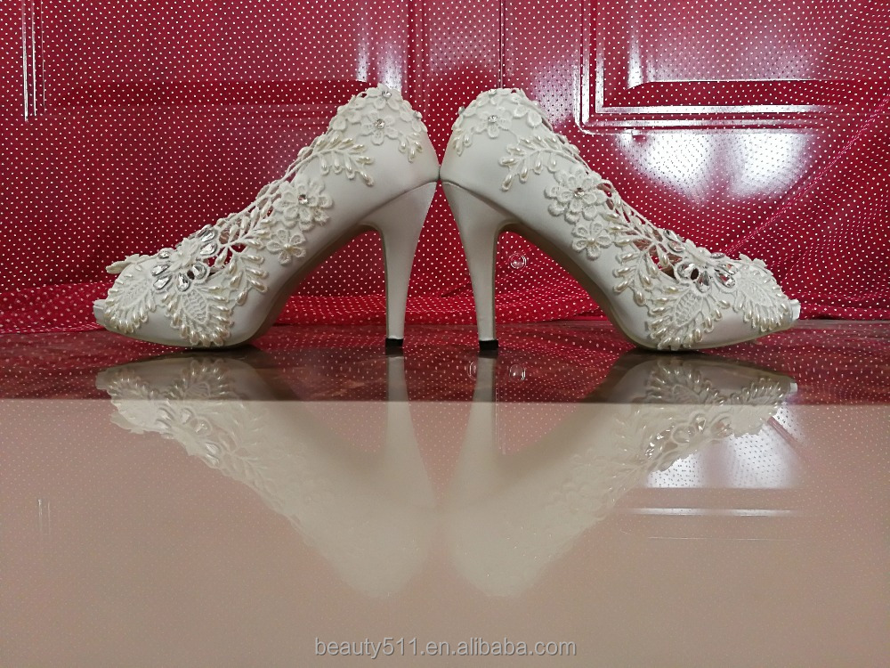 shoes WS049 heeled wedding Lace hollow shoes women out fish mouth high HAgqFw