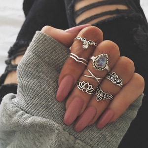 Bohemia punk ethnic crown stars cross crystal ring set Boho Female Charms Jewelry Knuckle Rings for women