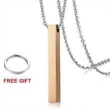 Vnox персонализированное имя ожерелье для женщин и мужчин, вертикальный цилиндрический глянцевый кулон из нержавеющей стали, индивидуальный...(Китай)