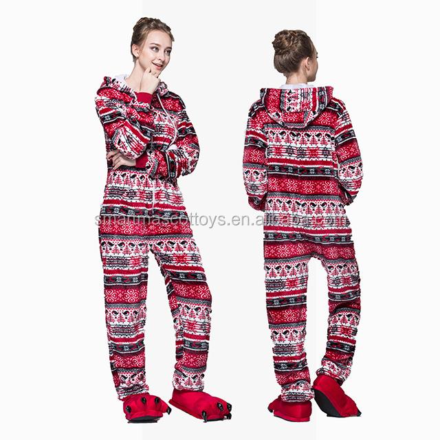 Wholesale adult onesie christmas red bird pajamas flannel fleece christmas  pajamas a8f968765