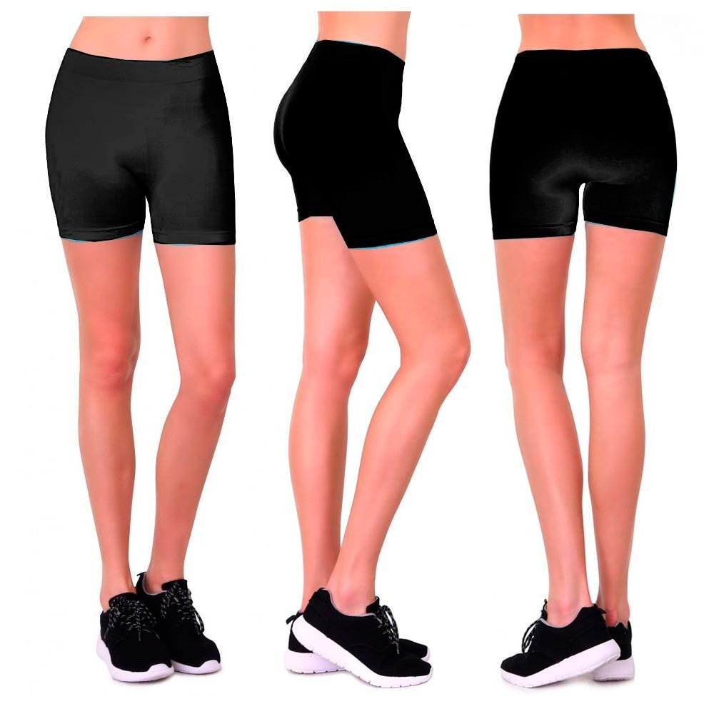 767c0e7f26d46d Get Quotations · Seamless Basic Plain Tight Mini Sexy Shorts Stretch  Spandex Pants Fitted Black