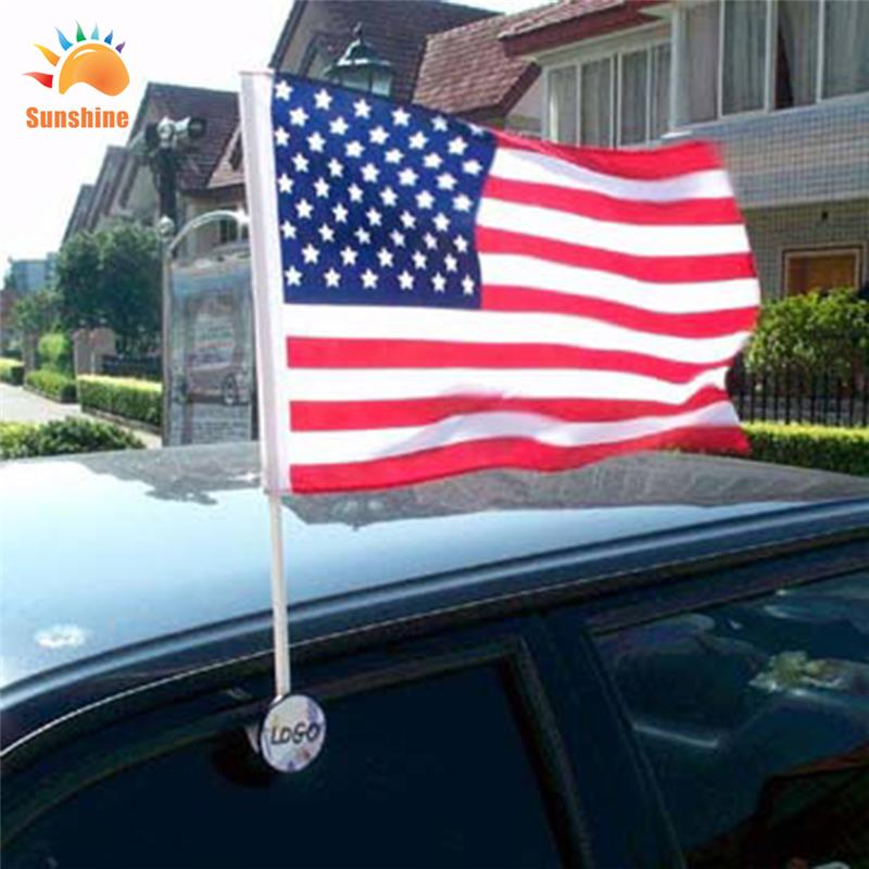 Outdoor advertising car window flags USA car flag car banner plastic pole