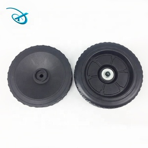 9 inch blow molding good quality solid low price small rubber wheels for trolley cart