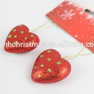 Christmas ball hanging decoration shining heart hanging new design red heart shape plastic