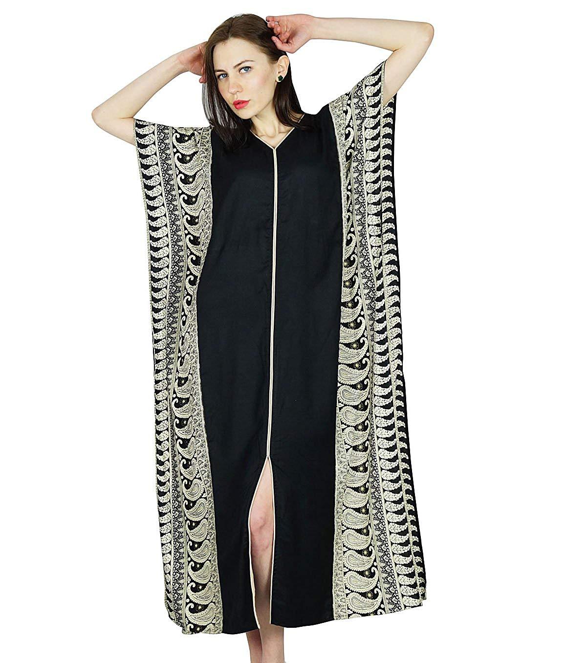 48d03ba15b Buy Bimba Women Rayon Long Kaftan Black Caftan Maxi Gown Coverup Top ...