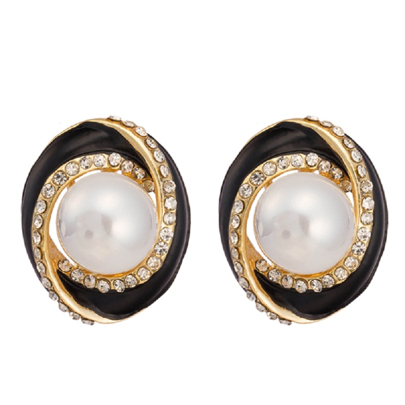 Brand Design Enamel Delicate Oval Earrings Big Round Pearl Austrian Crystal Stud Earrings For Noble Women Wholesale