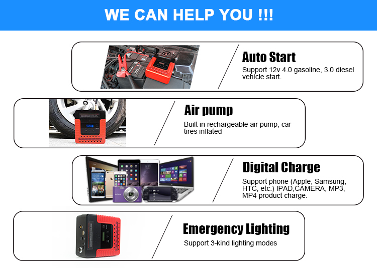 Emergency tool kit car accessories emergency car booster portable 14000mah jump starter