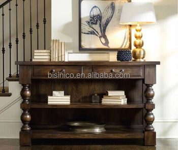 BISINI American Country Style Console Table Hallway Solid Wood Decorative Antique Bookshelf