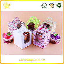 Food grade coated paper tall cake boxes for packing one cupcake