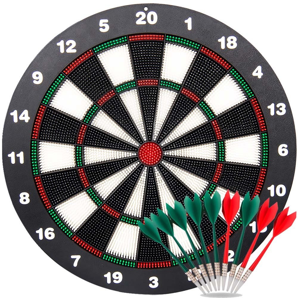 Ylovetoys Safety Dart Board Set for Kids, 16.4 inch Rubber Dart Board Soft Tip Dartboard with 9 Soft Safety Darts Great for Office and Family Time
