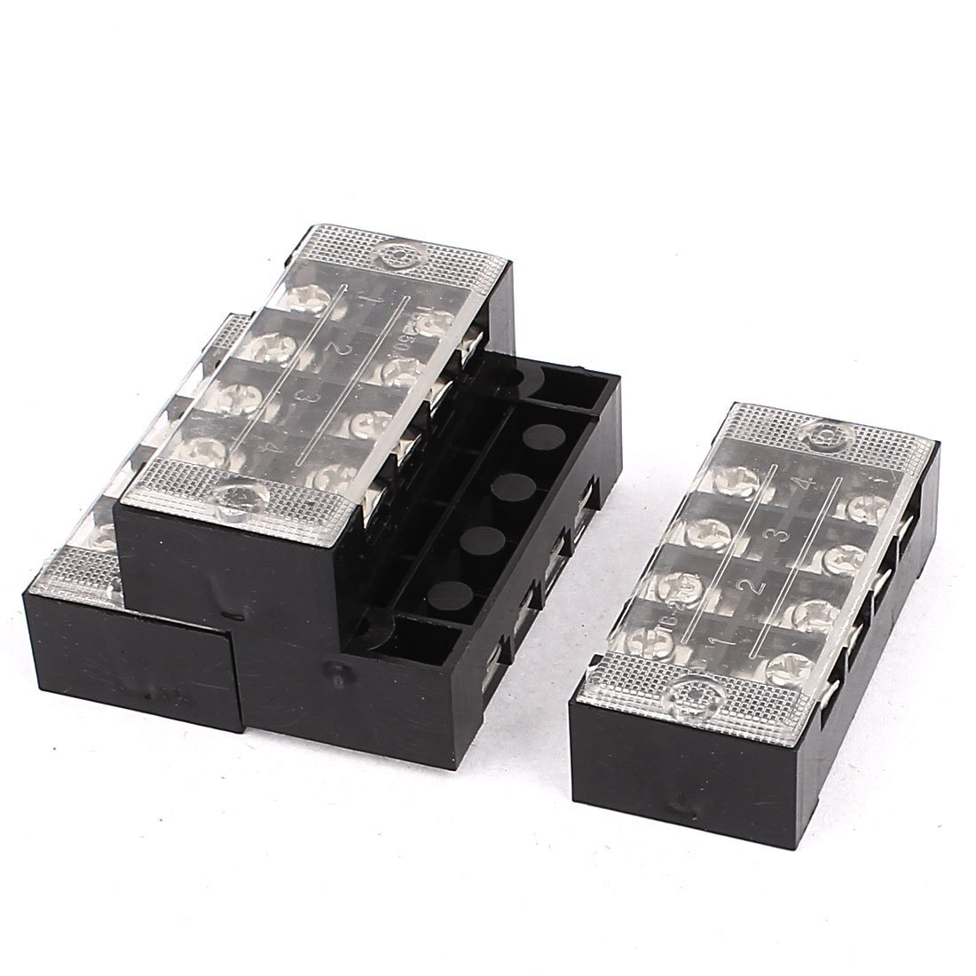 Aexit 4 Pcs 600V 25A 4P Dual Row Barrier Terminal Block Cable Connector Bar