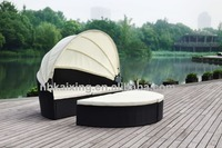 Black rattan sunbed chair round rattan daybed with cushion