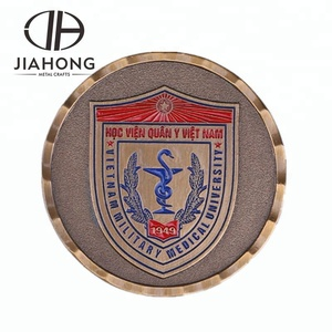 Brass color 3D printing school souvenir coin