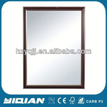 Wooden Frame Mirror With Tempered Glass Shelf Lavatory Plastic ...