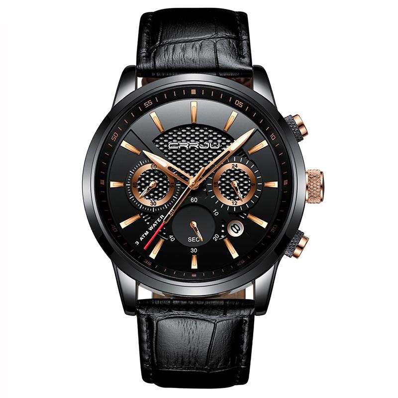 CRRJU Brand 2212 Men Watches Leather Strap Quartz Casual Business Wrist Watch Fashion Chronograph Water Resistant Montre Homme фото